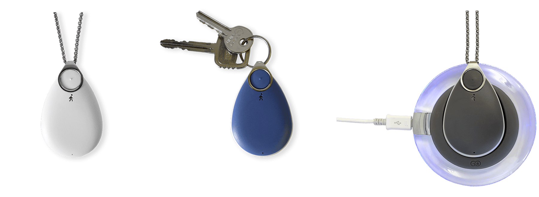 Mobile Alarm Pendant, GO, with GPS tracking, speakerphone in three colours
